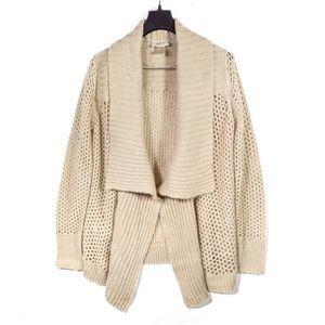 LOFT beige fold over collar knit open cardigan